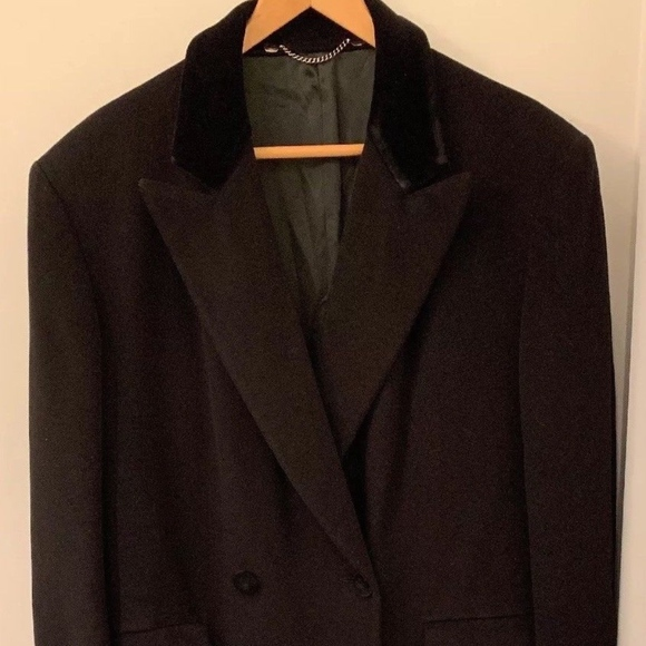 e17292d44600 Burberry Jackets & Coats | Vintage Black Cashmere Blend Coat Velvet ...